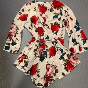 NEVER WORN! Floral Wrap Romper